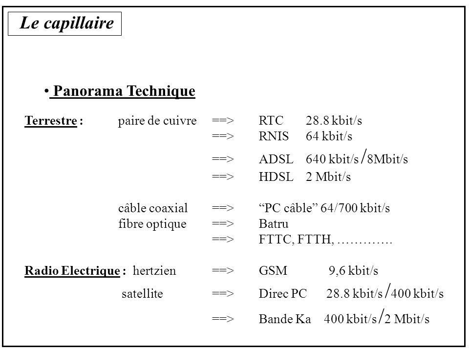 Le capillaire la commercialisation Type Telecom On-Line LS, à la distance minute, à la distance forfaitcâble pour un certain satellite taux dutilisation (partage de ressources) forfait limité(< 30 heures/mois, etc…) ou indépendant de la distance