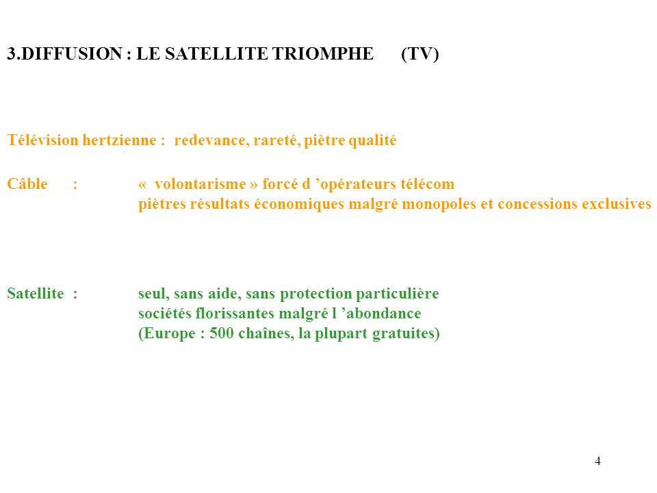 5 4.BACKBONE : LA FIBRE TRIOMPHE un satellite : 1 Ghz …..
