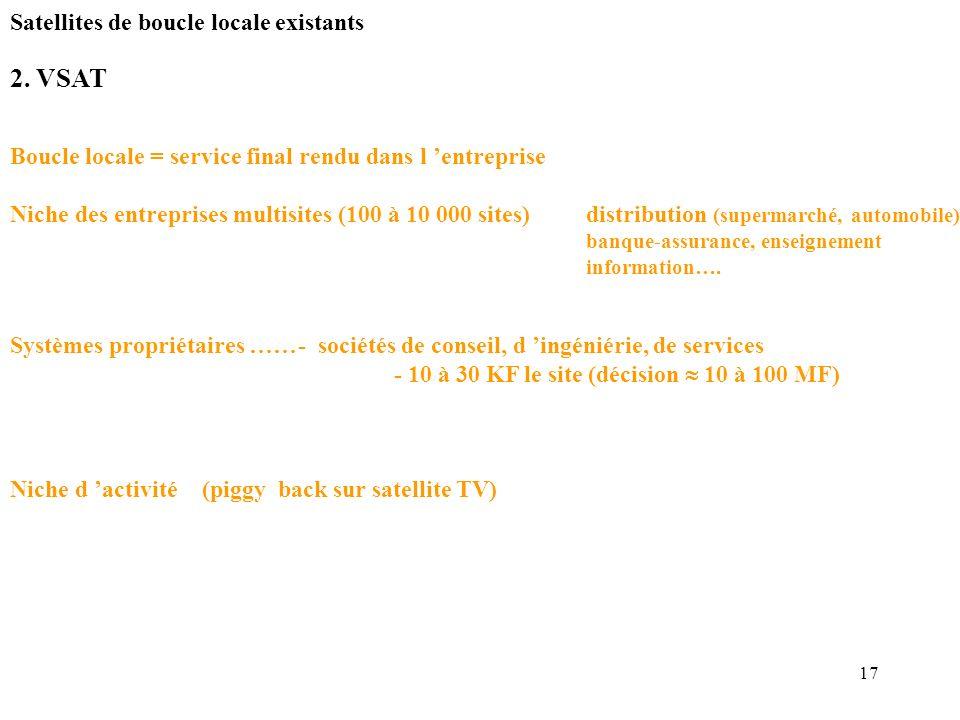 17 2. VSAT Boucle locale = service final rendu dans l entreprise Niche des entreprises multisites (100 à 10 000 sites)distribution (supermarché, autom