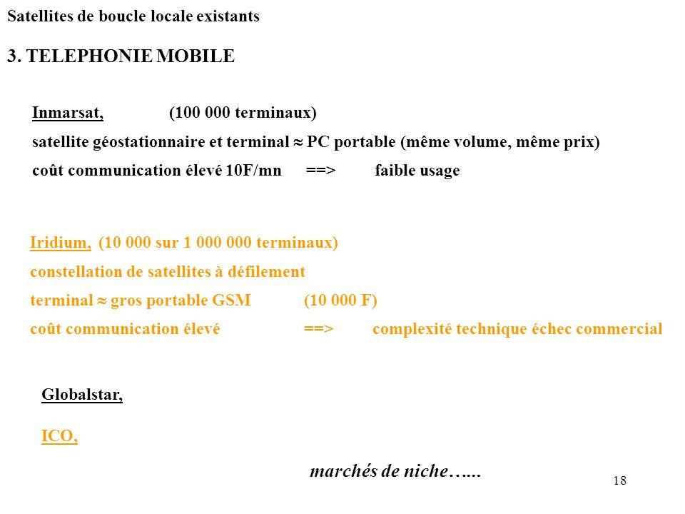 18 3. TELEPHONIE MOBILE Inmarsat, (100 000 terminaux) satellite géostationnaire et terminal PC portable (même volume, même prix) coût communication él