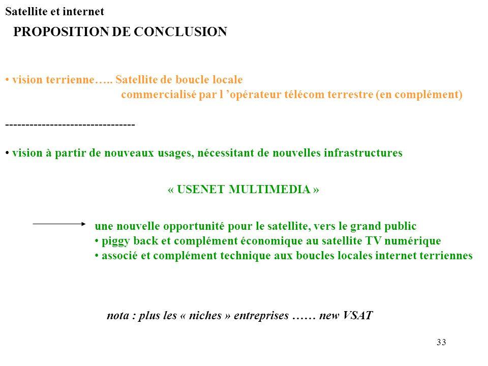 33 Satellite et internet PROPOSITION DE CONCLUSION vision terrienne….. Satellite de boucle locale commercialisé par l opérateur télécom terrestre (en