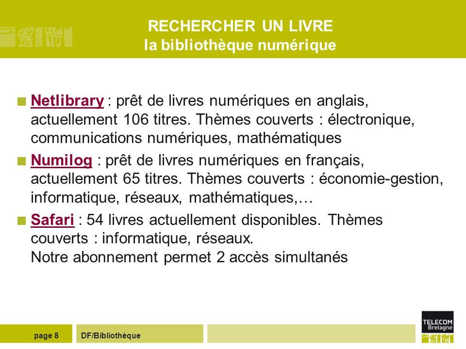 DF/Bibliothèquepage 18 PRESENTER UNE REFERENCE BIBLIOGRAPHIQUE COMMUNICATION DANS UNE CONFERENCE AUTEUR.