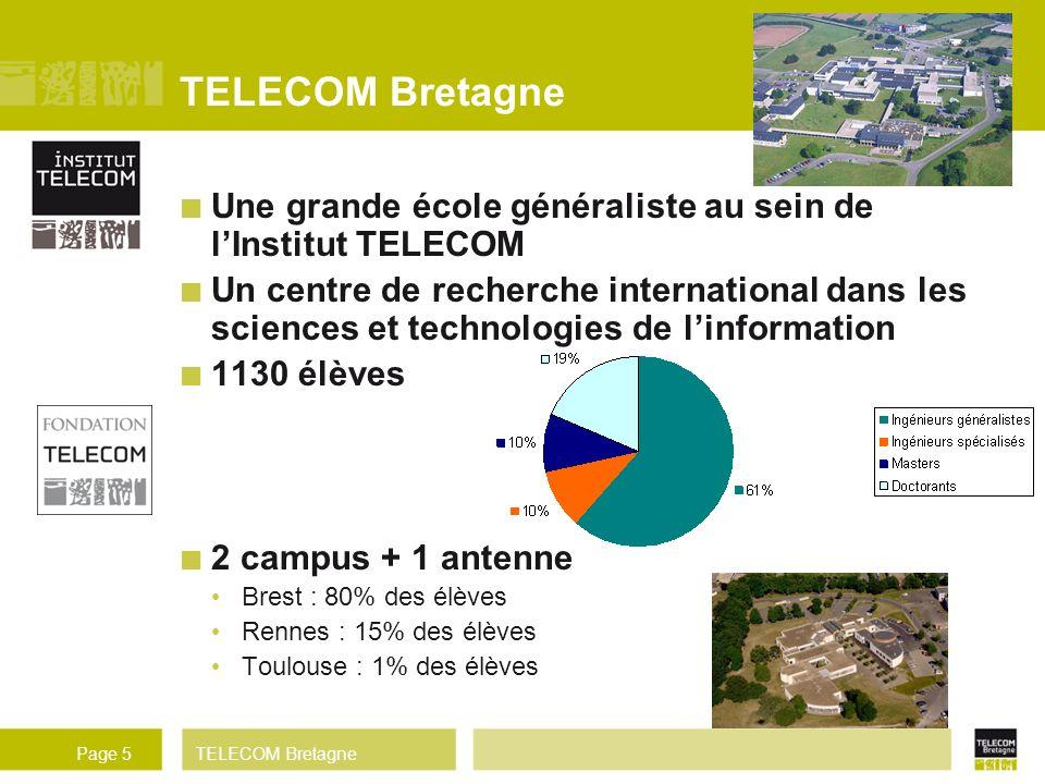 TELECOM BretagnePage 5 TELECOM Bretagne Une grande école généraliste au sein de lInstitut TELECOM Un centre de recherche international dans les scienc
