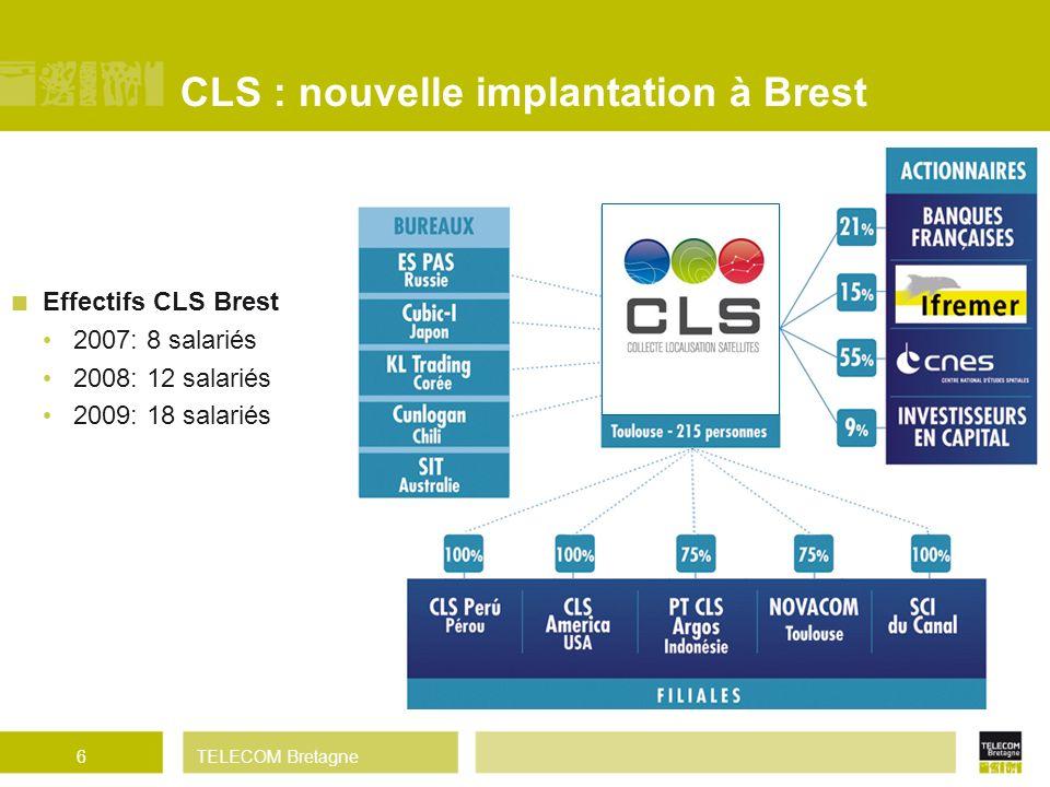 TELECOM Bretagne CLS : nouvelle implantation à Brest Effectifs CLS Brest 2007: 8 salariés 2008: 12 salariés 2009: 18 salariés 6 237 salariés