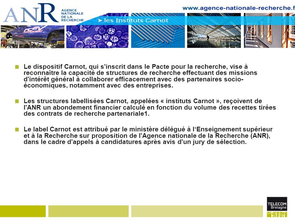 Le dispositif Carnot, qui s inscrit dans le Pacte pour la recherche, vise à reconnaître la capacité de structures de recherche effectuant des missions d intérêt général à collaborer efficacement avec des partenaires socio- économiques, notamment avec des entreprises.