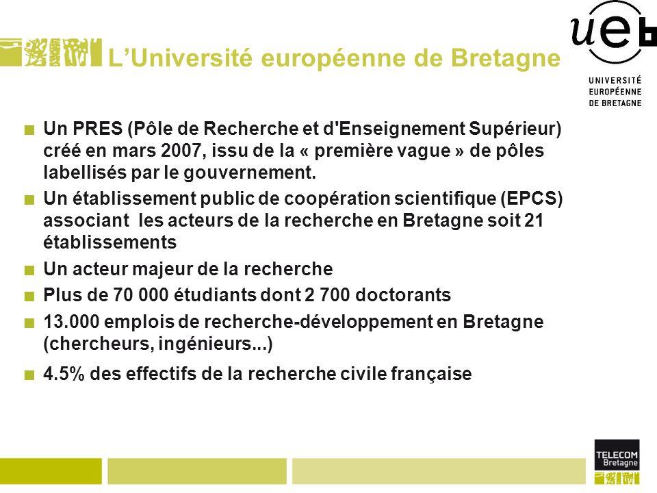LUniversité européenne de Bretagne Un PRES (Pôle de Recherche et d Enseignement Supérieur) créé en mars 2007, issu de la « première vague » de pôles labellisés par le gouvernement.
