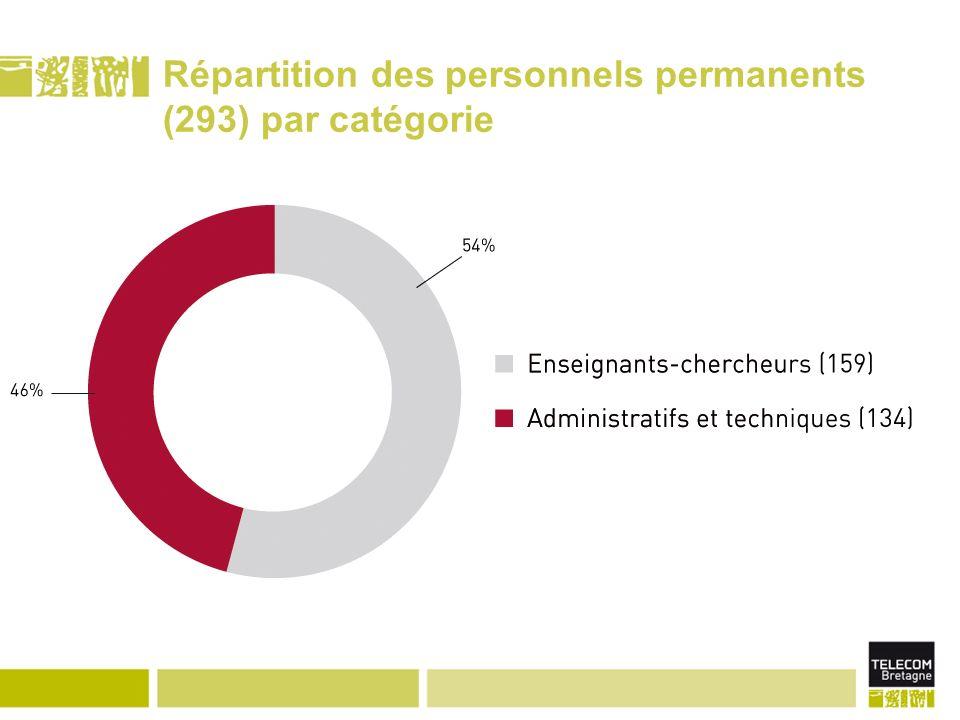 Répartition des personnels permanents (293) par catégorie