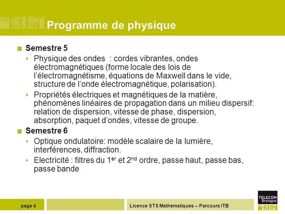 Licence STS Mathématiques – Parcours ITB Programme de physique Semestre 3 Electricité : électricité statique (champs électrostatique et magnétostatiqu
