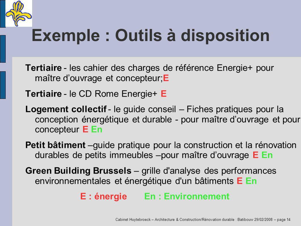 Cabinet Huytebroeck – Architecture & Construction/Rénovation durable : Batibouw 29/02/2008 – page 14 Exemple : Outils à disposition Tertiaire - les ca