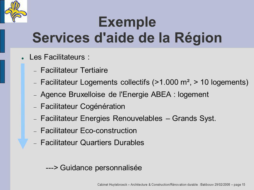 Cabinet Huytebroeck – Architecture & Construction/Rénovation durable : Batibouw 29/02/2008 – page 15 Exemple Services d'aide de la Région Les Facilita