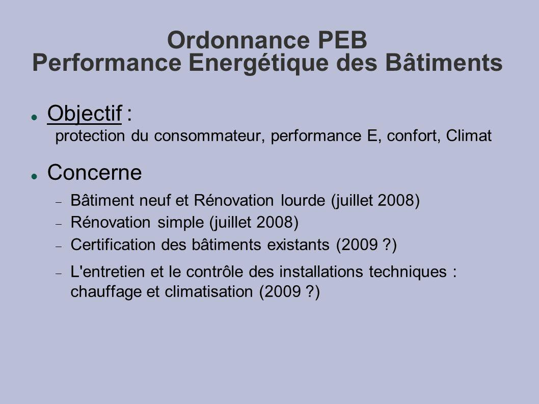 Ordonnance PEB Performance Energétique des Bâtiments Objectif : protection du consommateur, performance E, confort, Climat Concerne Bâtiment neuf et Rénovation lourde (juillet 2008) Rénovation simple (juillet 2008) Certification des bâtiments existants (2009 ) L entretien et le contrôle des installations techniques : chauffage et climatisation (2009 )