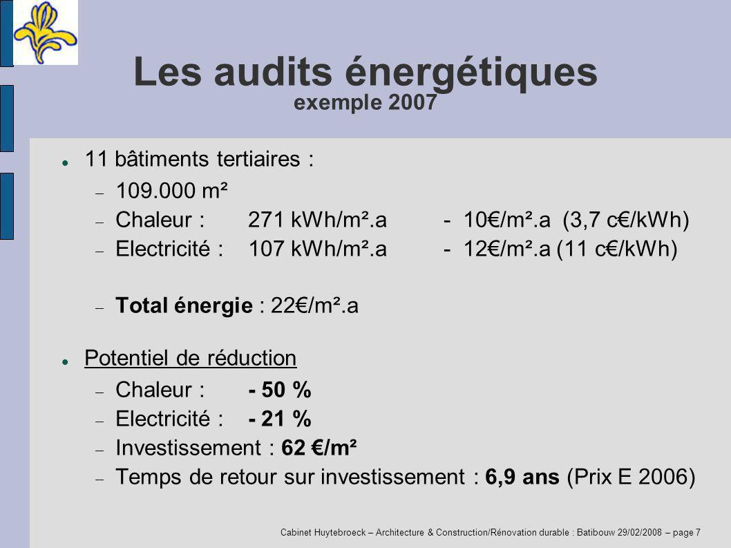 Cabinet Huytebroeck – Architecture & Construction/Rénovation durable : Batibouw 29/02/2008 – page 7 Les audits énergétiques exemple 2007 11 bâtiments