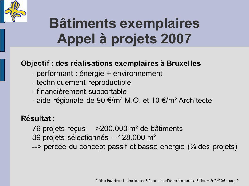 Cabinet Huytebroeck – Architecture & Construction/Rénovation durable : Batibouw 29/02/2008 – page 9 Bâtiments exemplaires Appel à projets 2007 Objecti