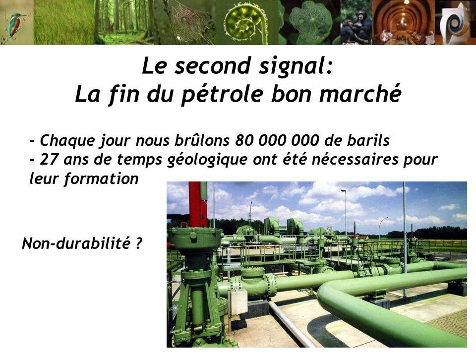 - Chaque jour nous brûlons 80 000 000 de barils - 27 ans de temps géologique ont été nécessaires pour leur formation Le second signal: La fin du pétro
