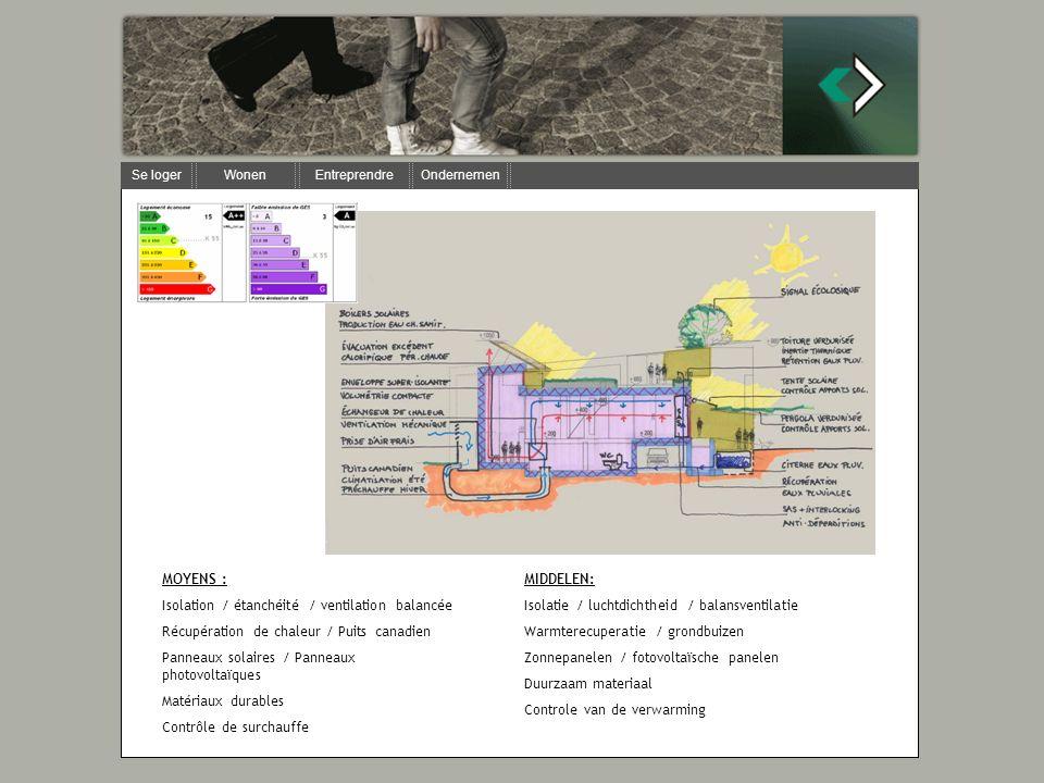 MOYENS : Isolation / étanchéité / ventilation balancée Récupération de chaleur / Puits canadien Panneaux solaires / Panneaux photovoltaïques Matériaux durables Contrôle de surchauffe MIDDELEN: Isolatie / luchtdichtheid / balansventilatie Warmterecuperatie / grondbuizen Zonnepanelen / fotovoltaïsche panelen Duurzaam materiaal Controle van de verwarming
