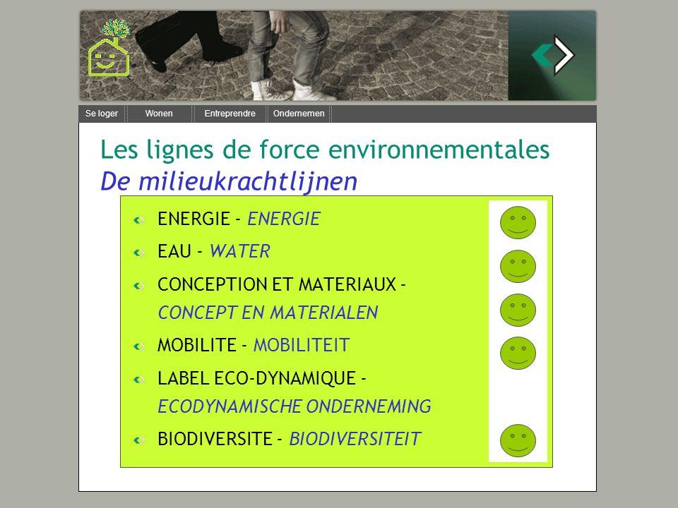 Se loger Wonen Entreprendre Ondernemen Les lignes de force environnementales De milieukrachtlijnen ENERGIE - ENERGIE EAU - WATER CONCEPTION ET MATERIA
