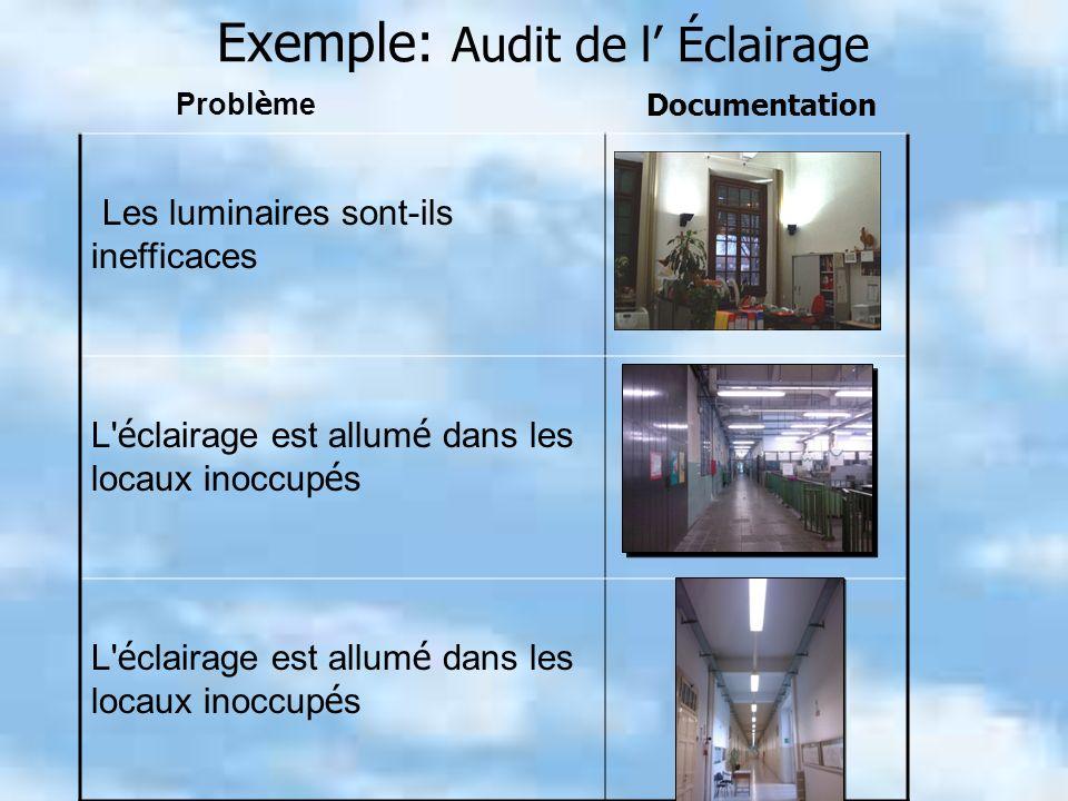 Exemple: Audit de l Éclairage Les luminaires sont-ils inefficaces L' é clairage est allum é dans les locaux inoccup é s Probl è me Documentation