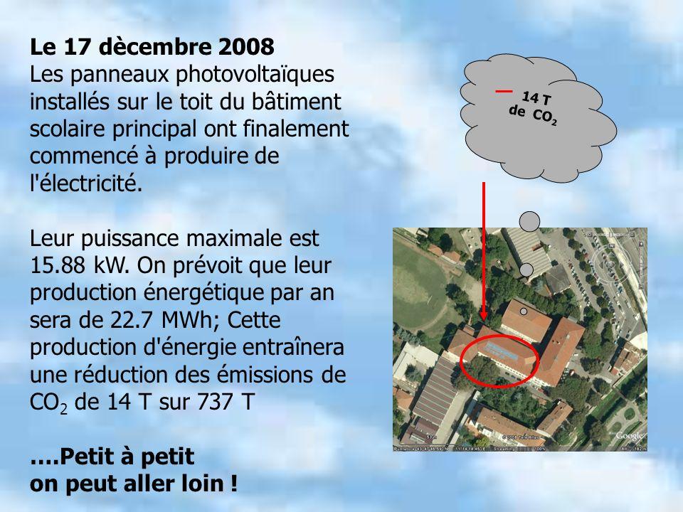 Le 17 dècembre 2008 Les panneaux photovoltaïques installés sur le toit du bâtiment scolaire principal ont finalement commencé à produire de l électricité.