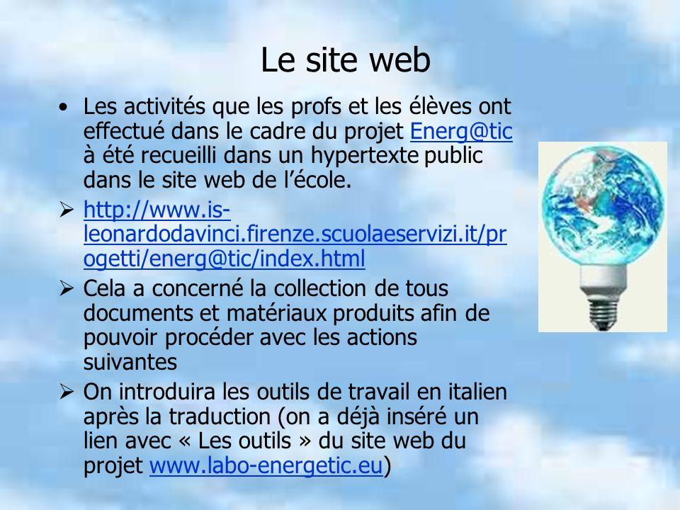 Le site web Les activités que les profs et les élèves ont effectué dans le cadre du projet Energ@tic à été recueilli dans un hypertexte public dans le site web de lécole.Energ@tic http://www.is- leonardodavinci.firenze.scuolaeservizi.it/pr ogetti/energ@tic/index.html http://www.is- leonardodavinci.firenze.scuolaeservizi.it/pr ogetti/energ@tic/index.html Cela a concerné la collection de tous documents et matériaux produits afin de pouvoir procéder avec les actions suivantes On introduira les outils de travail en italien après la traduction (on a déjà inséré un lien avec « Les outils » du site web du projet www.labo-energetic.eu)www.labo-energetic.eu