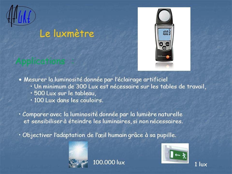 Mesurer la luminosité donnée par léclairage artificiel Un minimum de 300 Lux est nécessaire sur les tables de travail, 500 Lux sur le tableau, 100 Lux dans les couloirs.