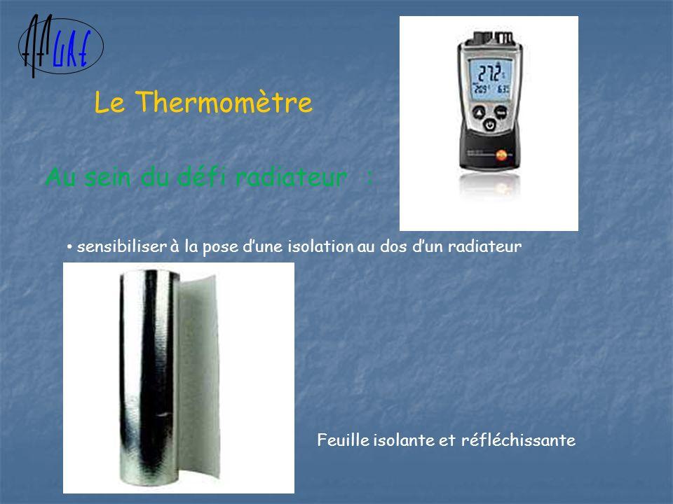 Au sein du défi radiateur : sensibiliser à la pose dune isolation au dos dun radiateur Feuille isolante et réfléchissante Le Thermomètre