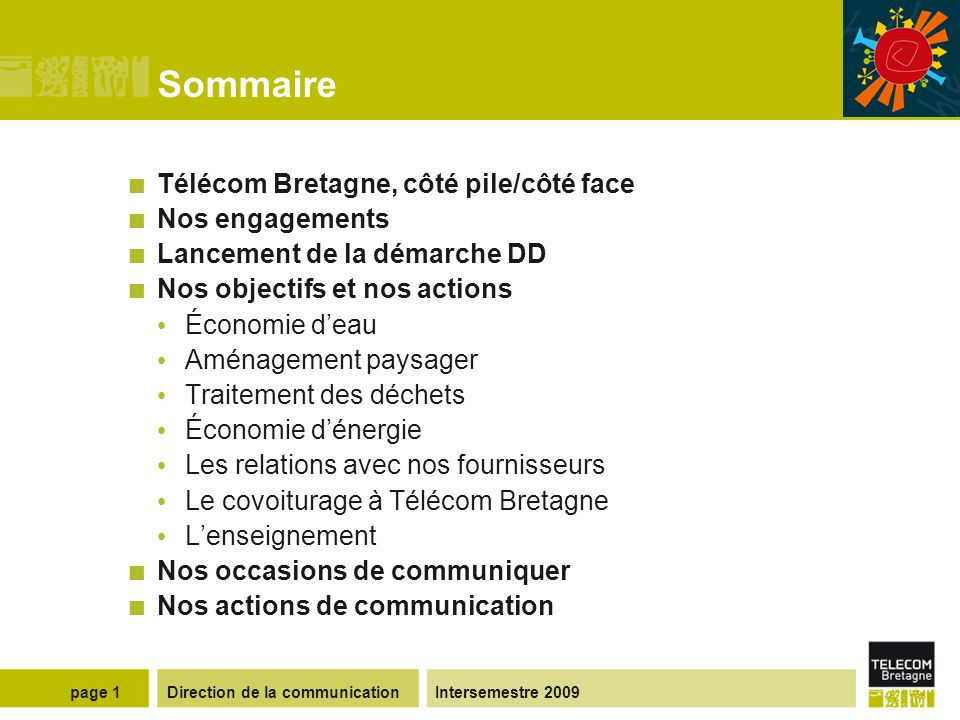 La démarche développement durable à Télécom Bretagne www.telecom-bretagne.eu