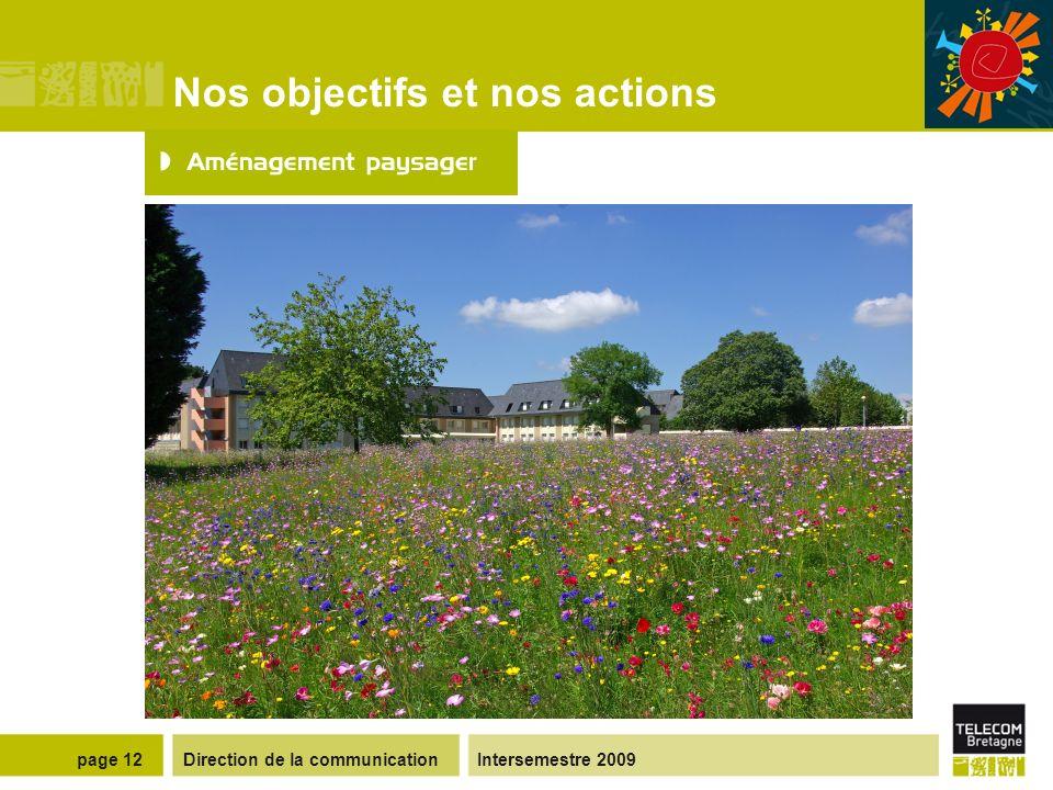 Direction de la communicationIntersemestre 2009page 11 Nos objectifs et nos actions Moyens mis en œuvre Création de prairies fleuries pour limiter les