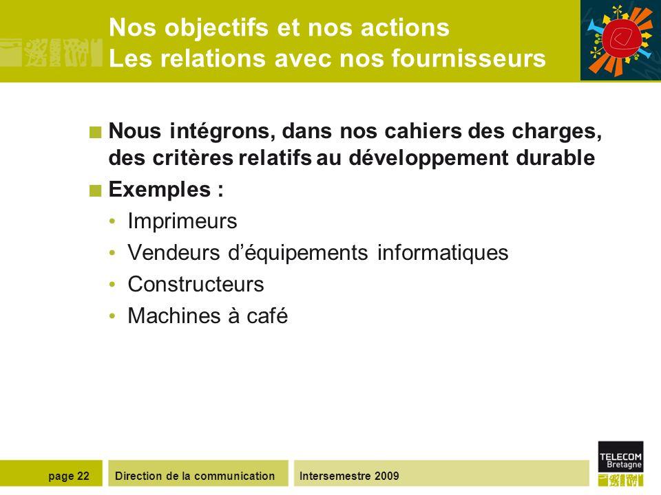 Direction de la communicationIntersemestre 2009page 21 Nos objectifs et nos actions