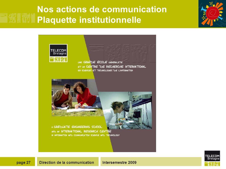 Direction de la communicationIntersemestre 2009page 26 Nos occasions de communiquer Au lancement de la démarche À chaque chantier/événement important