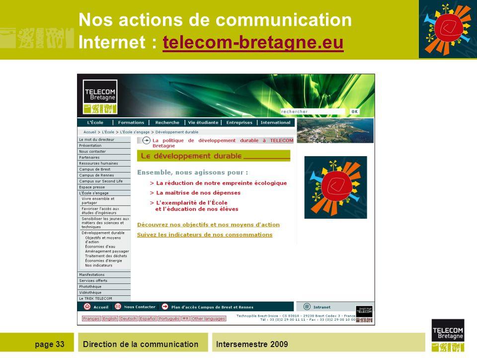 Direction de la communicationIntersemestre 2009page 32 Nos actions de communication Intranet