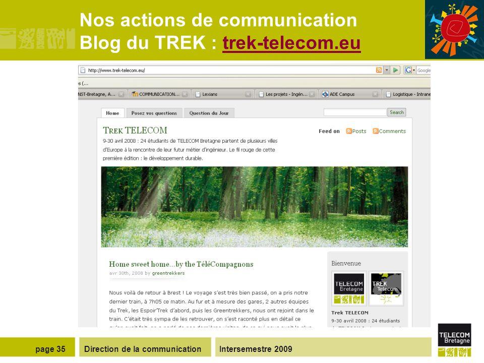 Direction de la communicationIntersemestre 2009page 34 Nos actions de communication Lexians, la lettre dinformation