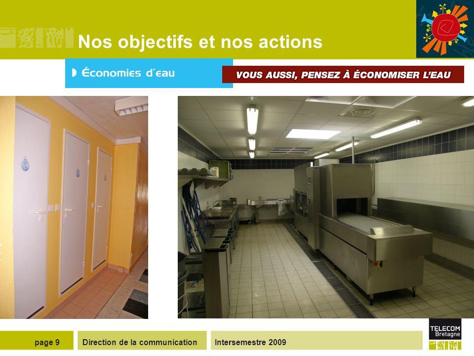 Direction de la communicationIntersemestre 2009page 9 Nos objectifs et nos actions