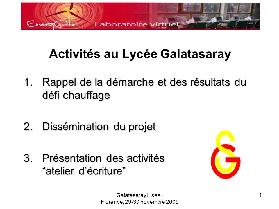 Galatasaray Lisesi, Florence, 29-30 novembre 2009 1 Activités au Lycée Galatasaray 1.Rappel de la démarche et des résultats du défi chauffage 2.Dissém