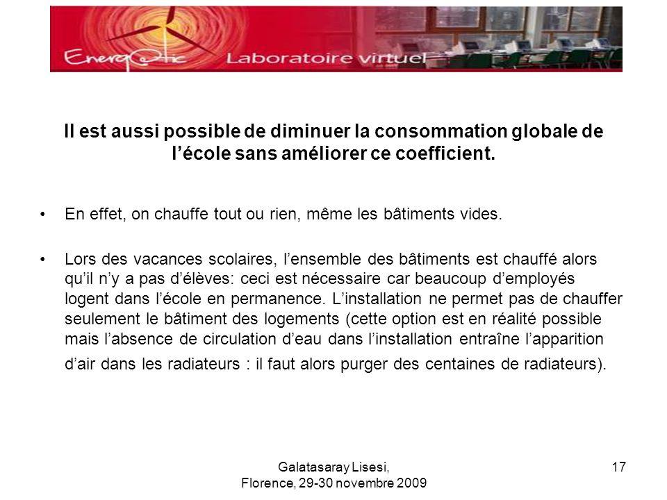 Galatasaray Lisesi, Florence, 29-30 novembre 2009 17 Il est aussi possible de diminuer la consommation globale de lécole sans améliorer ce coefficient
