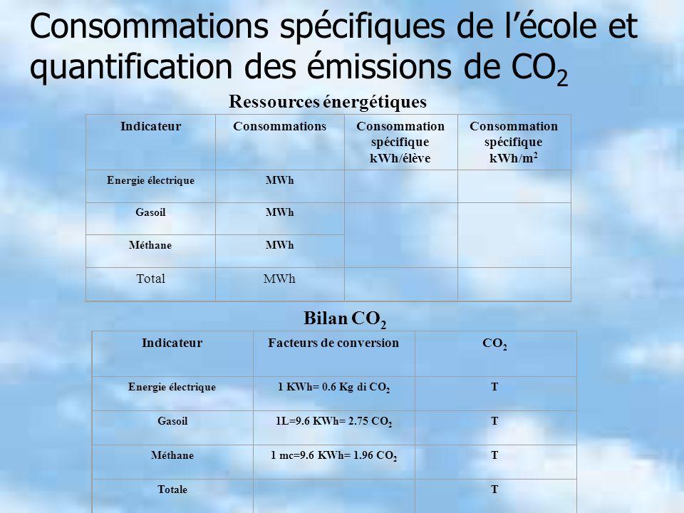 Ressources énergétiques IndicateurConsommationsConsommation spécifique kWh/élève Consommation spécifique kWh/m 2 Energie électriqueMWh GasoilMWh MéthaneMWh TotalMWh IndicateurFacteurs de conversionCO 2 Energie électrique1 KWh= 0.6 Kg di CO 2 T Gasoil1L=9.6 KWh= 2.75 CO 2 T Méthane1 mc=9.6 KWh= 1.96 CO 2 T Totale T Bilan CO 2 Consommations spécifiques de lécole et quantification des émissions de CO 2