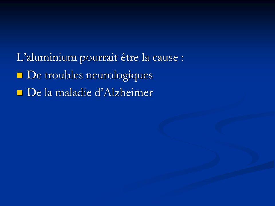 Laluminium pourrait être la cause : De troubles neurologiques De troubles neurologiques De la maladie dAlzheimer De la maladie dAlzheimer
