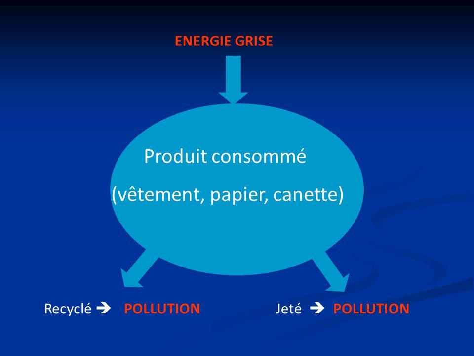 Produit consommé (vêtement, papier, canette) Jeté POLLUTION Recyclé POLLUTION ENERGIE GRISE