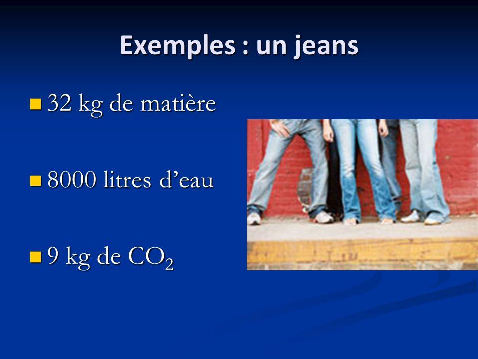 Exemples : un jeans 32 kg de matière 32 kg de matière 8000 litres deau 8000 litres deau 9 kg de CO 2 9 kg de CO 2