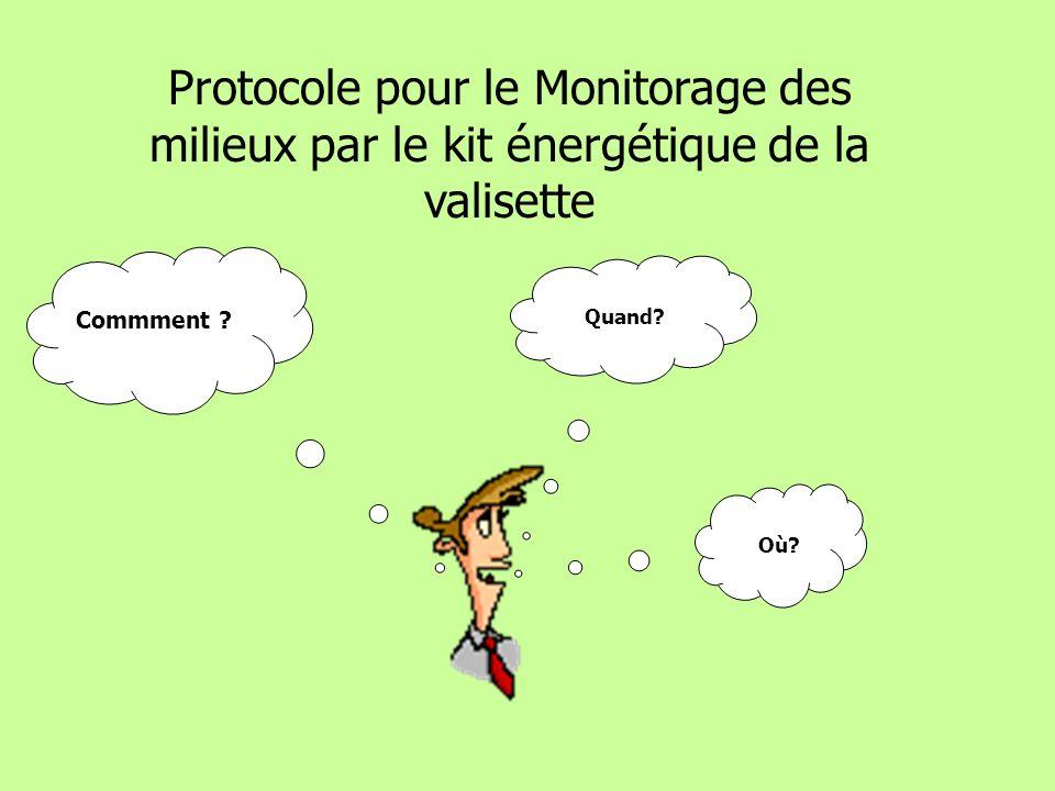 Protocole pour le Monitorage des milieux par le kit énergétique de la valisette Commment .
