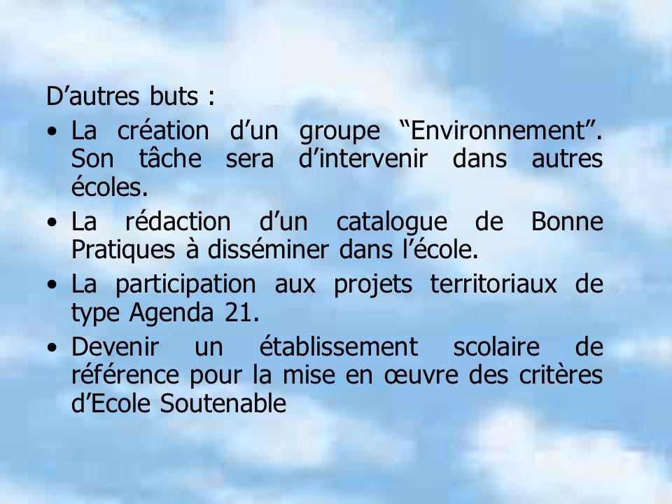 Dautres buts : La création dun groupe Environnement.