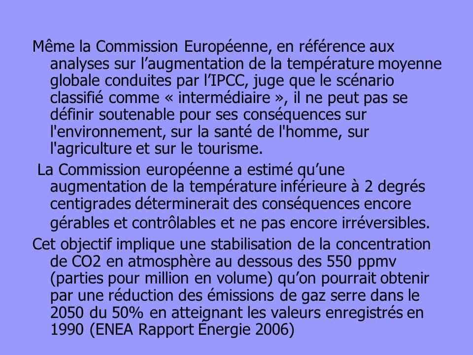 Même la Commission Européenne, en référence aux analyses sur laugmentation de la température moyenne globale conduites par lIPCC, juge que le scénario