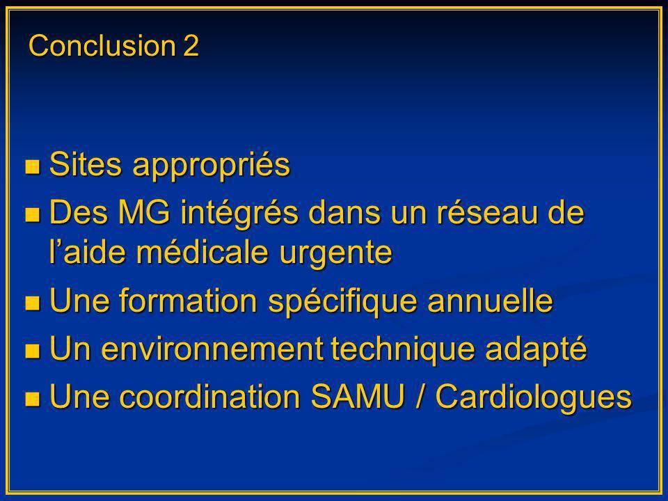 Sites appropriés Sites appropriés Des MG intégrés dans un réseau de laide médicale urgente Des MG intégrés dans un réseau de laide médicale urgente Un
