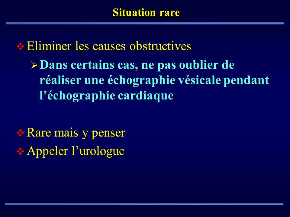 Pd G Situation rare Eliminer les causes obstructives Eliminer les causes obstructives Dans certains cas, ne pas oublier de réaliser une échographie vé