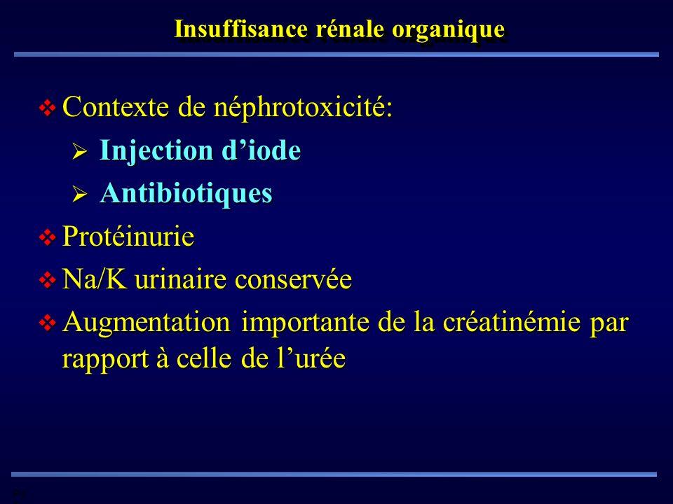 Pd G Insuffisance rénale organique Contexte de néphrotoxicité: Contexte de néphrotoxicité: Injection diode Injection diode Antibiotiques Antibiotiques