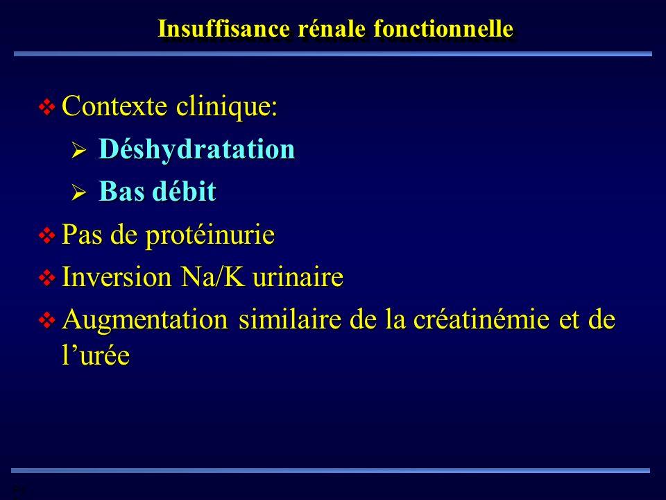 Pd G Insuffisance rénale fonctionnelle Contexte clinique: Contexte clinique: Déshydratation Déshydratation Bas débit Bas débit Pas de protéinurie Pas