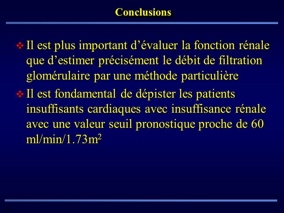 Pd G ConclusionsConclusions Il est plus important dévaluer la fonction rénale que destimer précisément le débit de filtration glomérulaire par une mét
