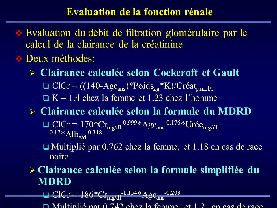 Pd G Evaluation de la fonction rénale Evaluation du débit de filtration glomérulaire par le calcul de la clairance de la créatinine Evaluation du débi