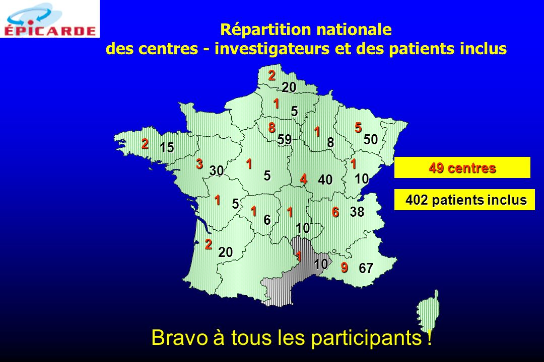 Répartition nationale des centres - investigateurs et des patients inclus 9 85 4 6 3 2 2 2 1 1 1 1 1 1 1 1 49 centres 67 5950 40 38 30 20 15 10 10 10