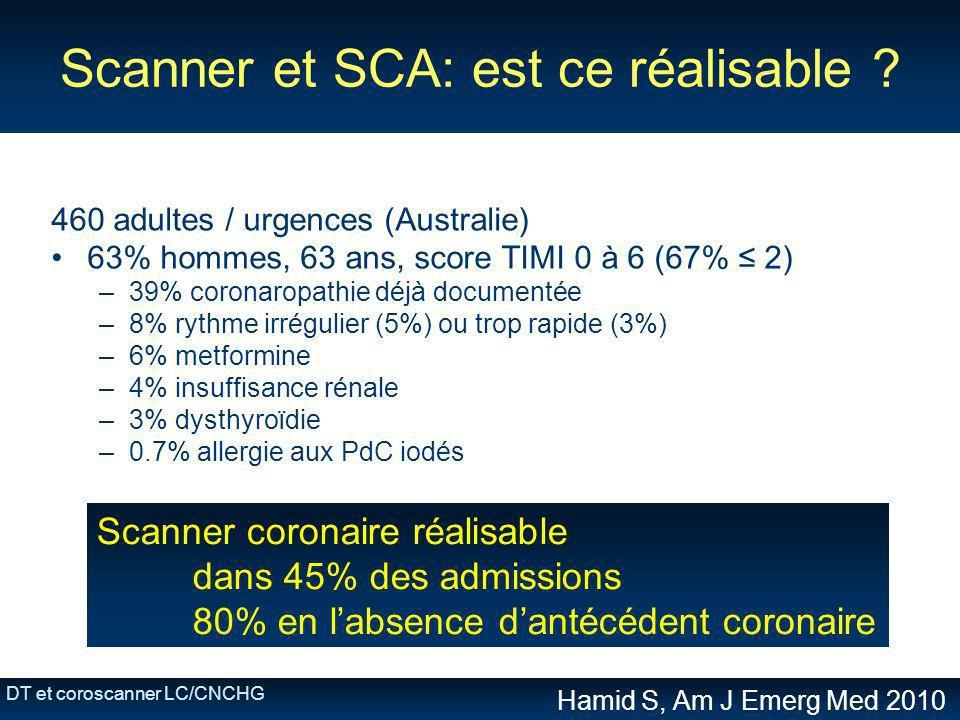 DT et coroscanner LC/CNCHG Scanner et SCA: est ce réalisable ? 460 adultes / urgences (Australie) 63% hommes, 63 ans, score TIMI 0 à 6 (67% 2) –39% co