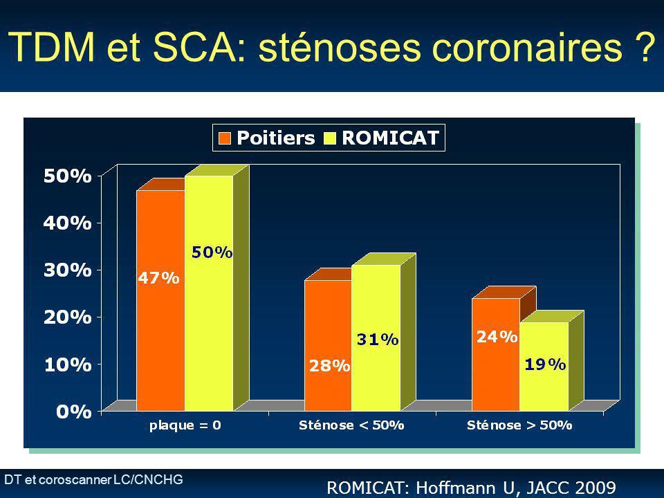 DT et coroscanner LC/CNCHG TDM et SCA: sténoses coronaires ? ROMICAT: Hoffmann U, JACC 2009